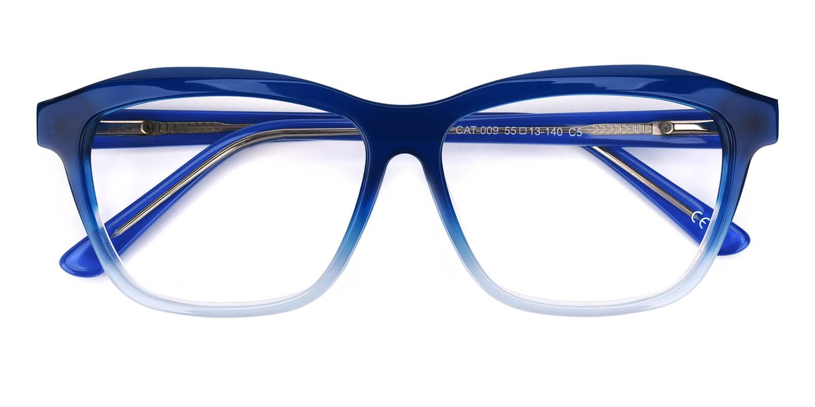 Gate-Blue-Square / Cat-Acetate-Eyeglasses-detail