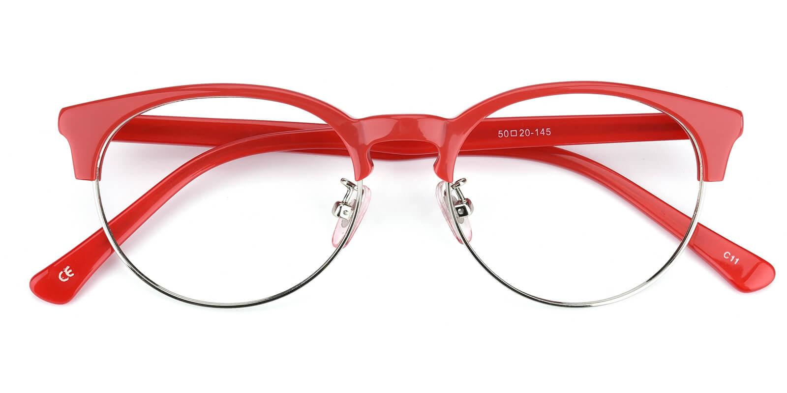 Esteban-Red-Browline-Metal / Combination / TR-Eyeglasses-detail