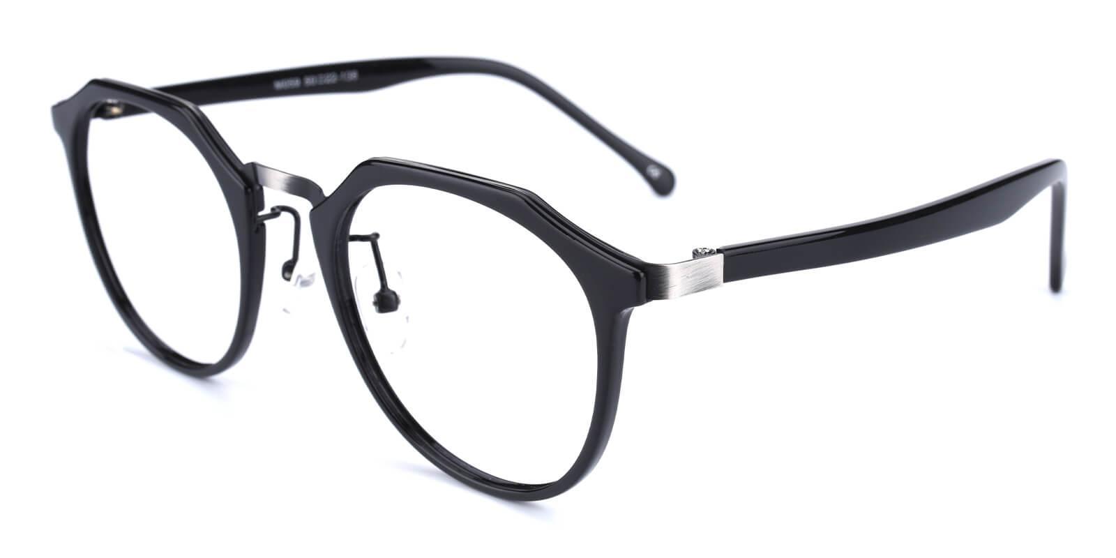 Intense-Black-Geometric-Metal / Combination / TR-Eyeglasses-detail