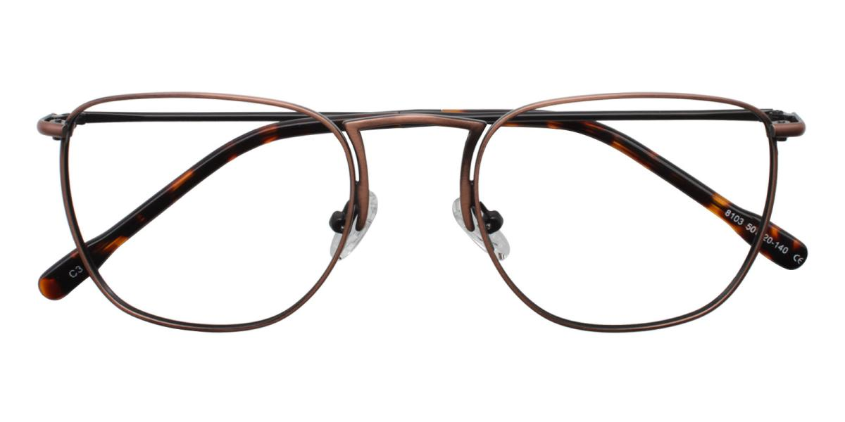 -Brown-Square-Metal-Eyeglasses-detail