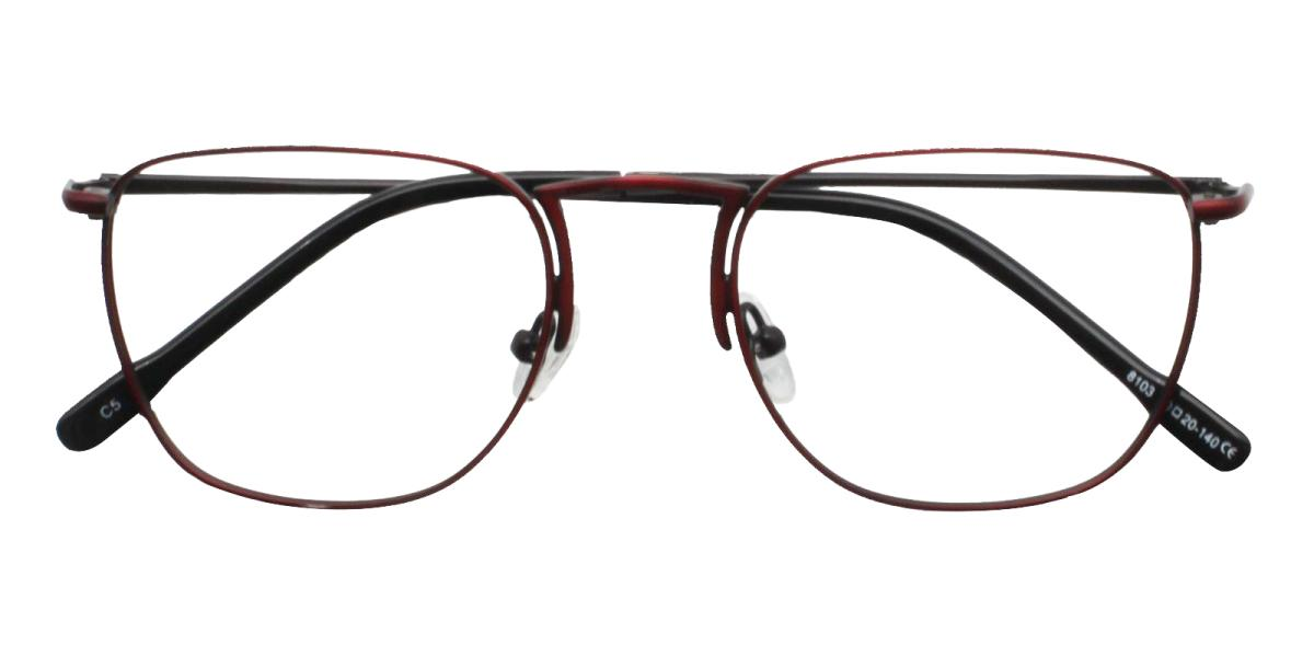 -Red-Square-Metal-Eyeglasses-detail
