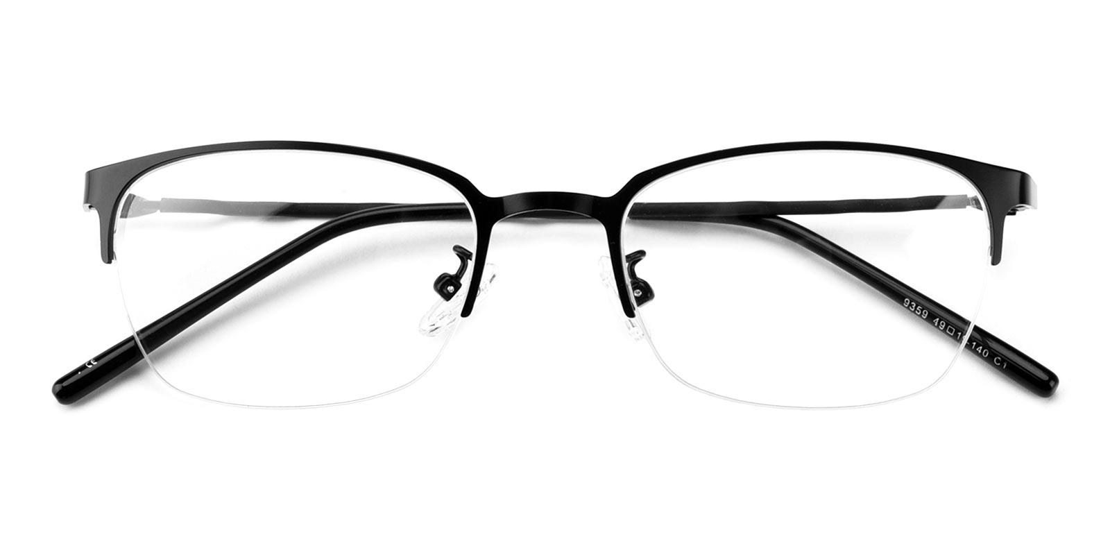 Wavain-Black-Rectangle-Metal-Eyeglasses-detail