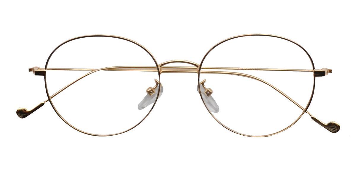 -Gold-Round-Metal-Eyeglasses-detail