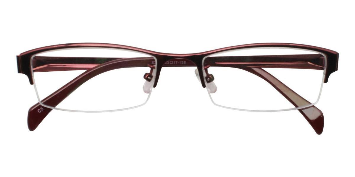 Melody-Red-Rectangle-Metal-Eyeglasses-detail