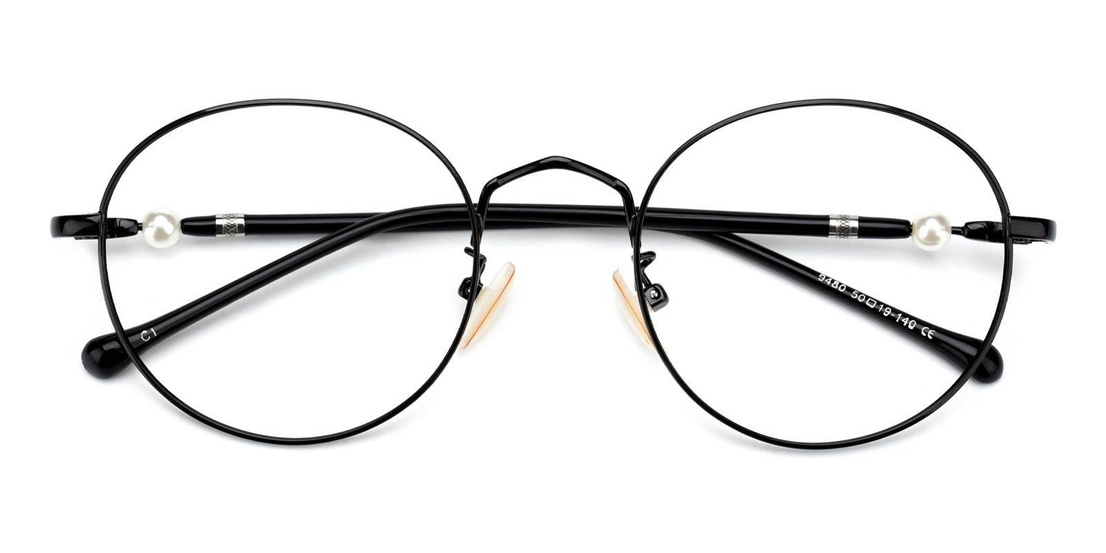 Oswego-Black-Round-Metal-Eyeglasses-detail