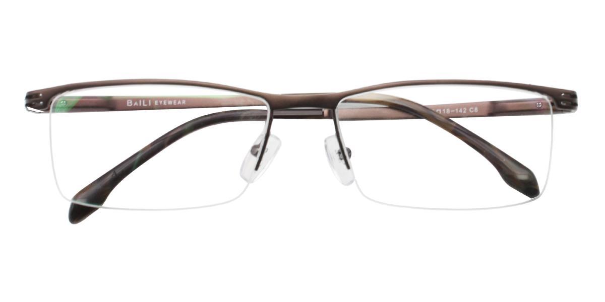 Matin-Brown-Rectangle-Metal-Eyeglasses-detail