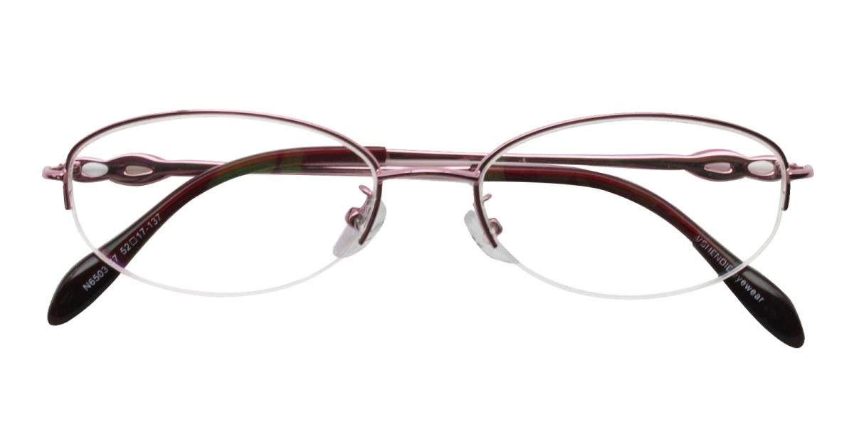 Carving-Pink-Oval-Metal-Eyeglasses-detail