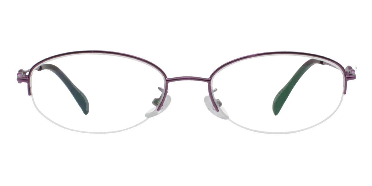 Carving-Purple-Oval-Metal-Eyeglasses-detail