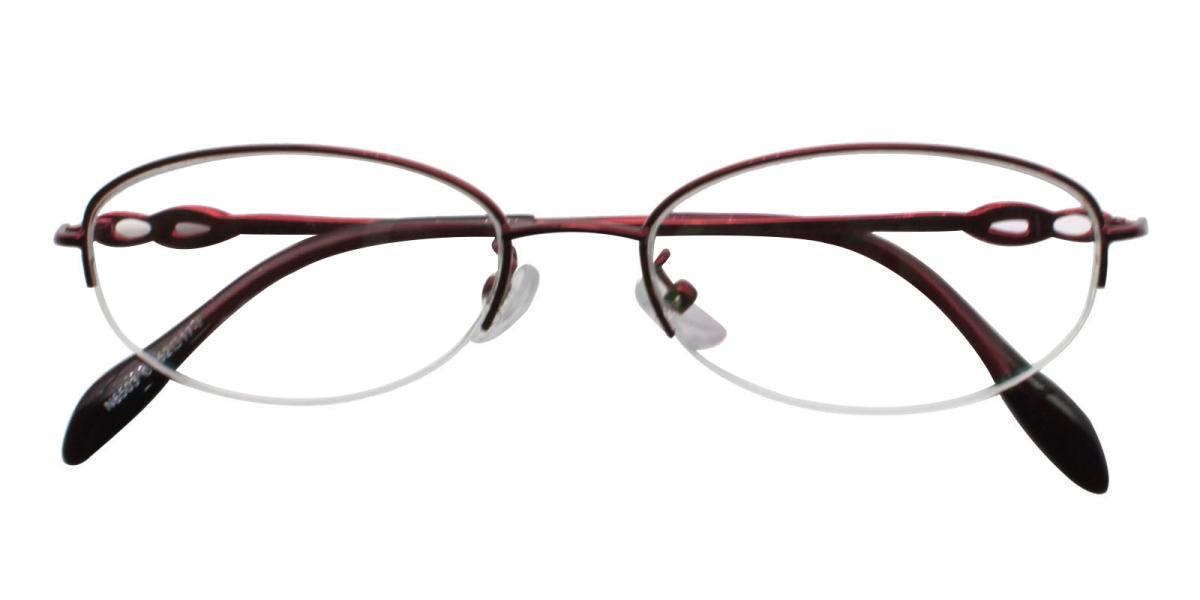 Carving-Red-Oval-Metal-Eyeglasses-detail