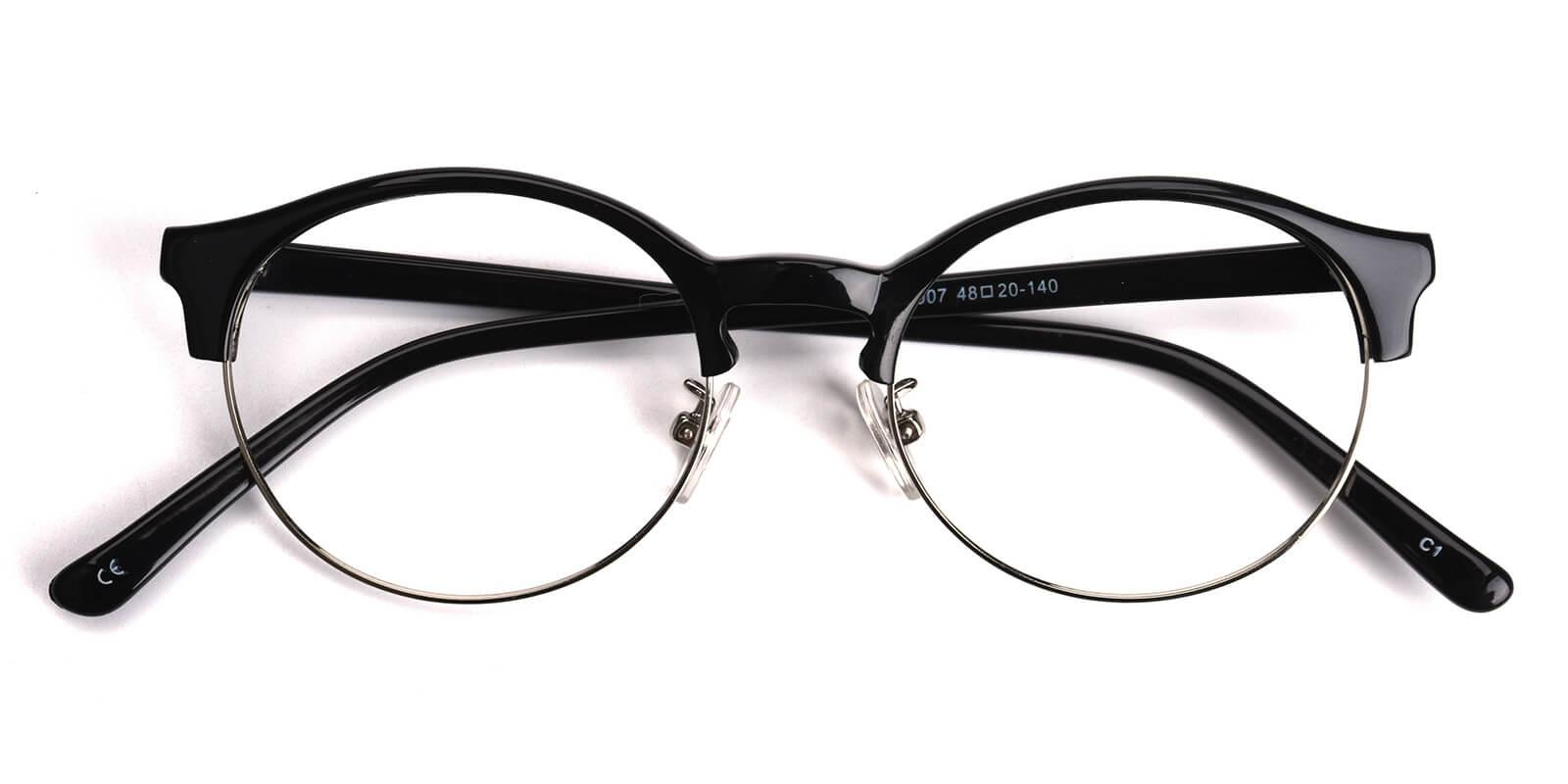 Zenoria-Black-Browline-Combination-Eyeglasses-detail