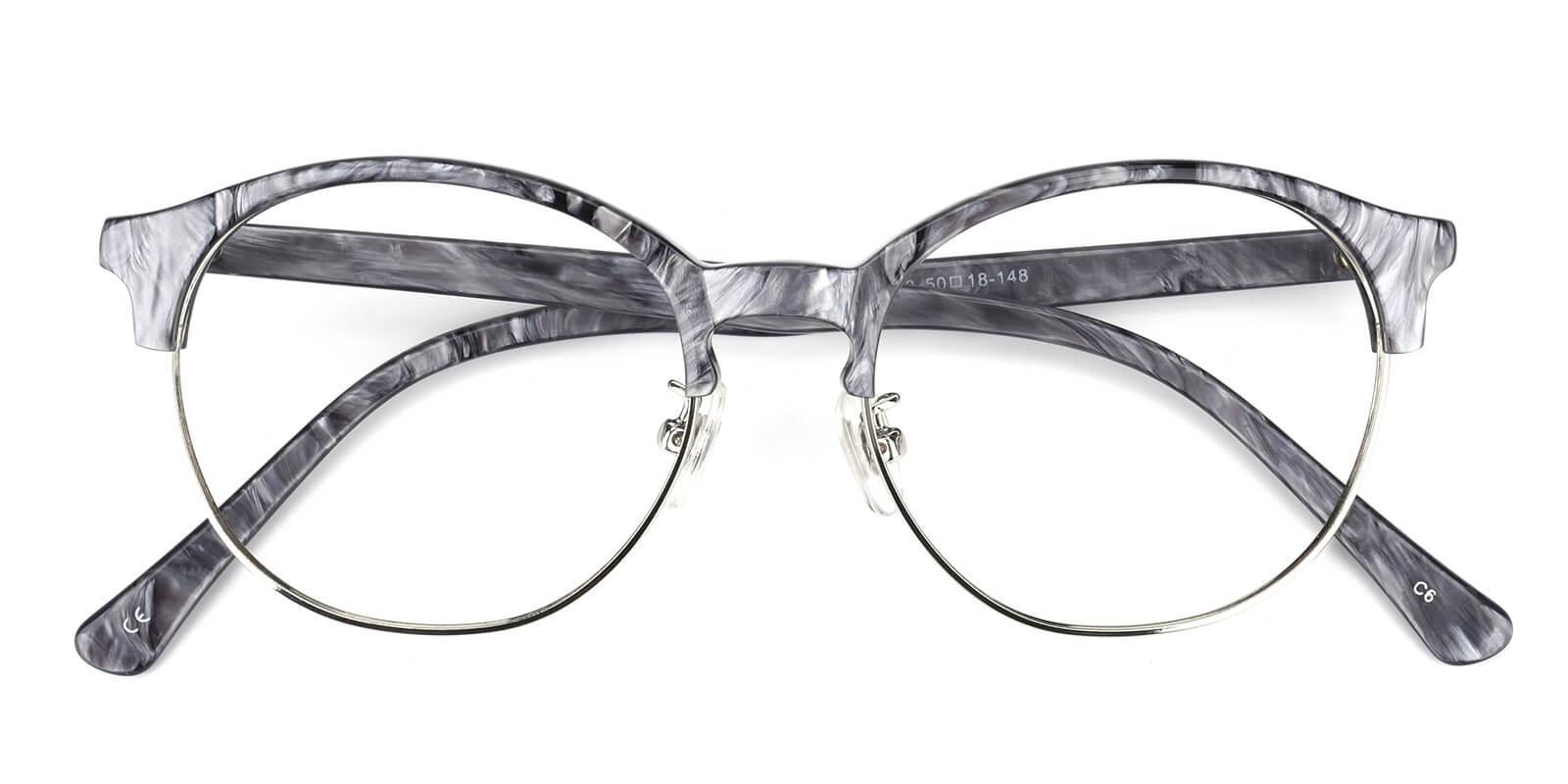 Mandisey-Gray-Browline-Combination-Eyeglasses-detail