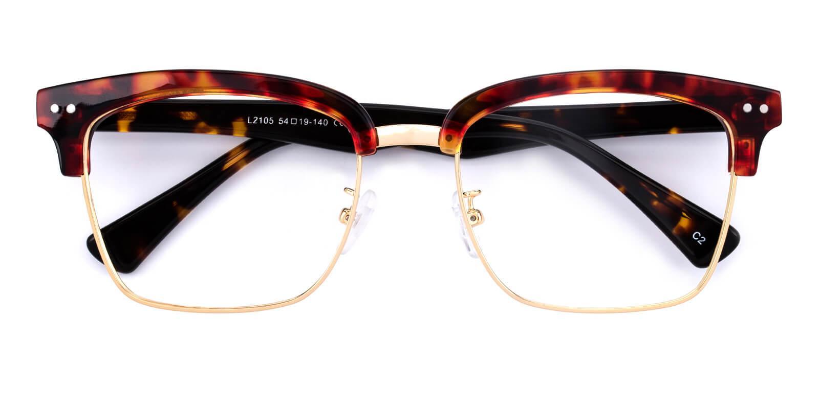 Ellimim-Tortoise-Browline-Acetate / Metal-Eyeglasses-detail