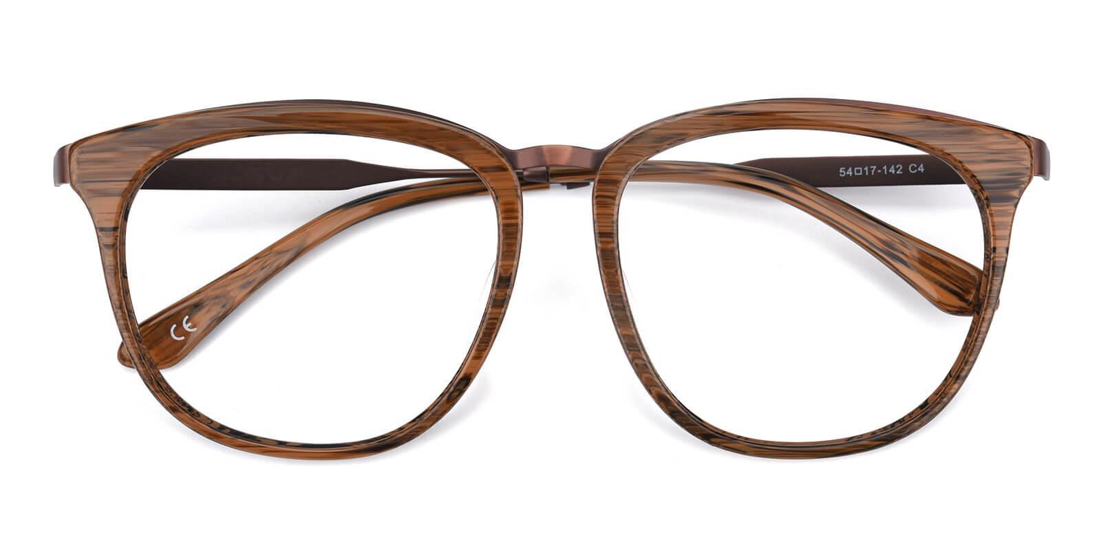 Grain-Brown-Square-Acetate / Metal-Eyeglasses-detail