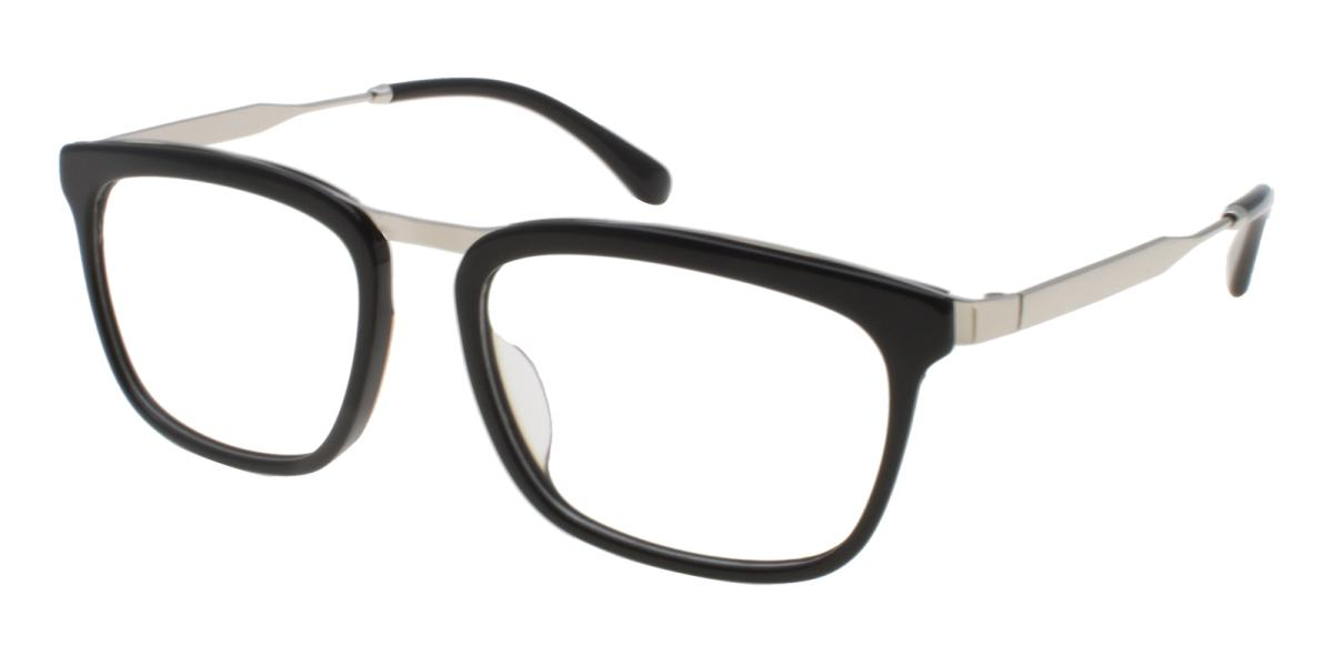 Lines-Black-Square-Acetate / Metal-Eyeglasses-additional1