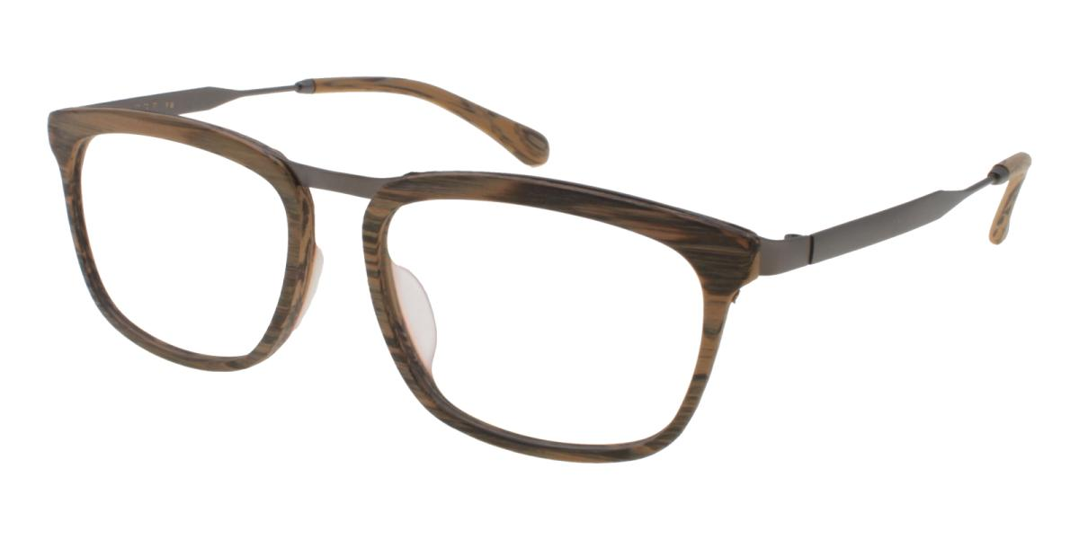 Lines-Brown-Square-Acetate / Metal-Eyeglasses-additional1