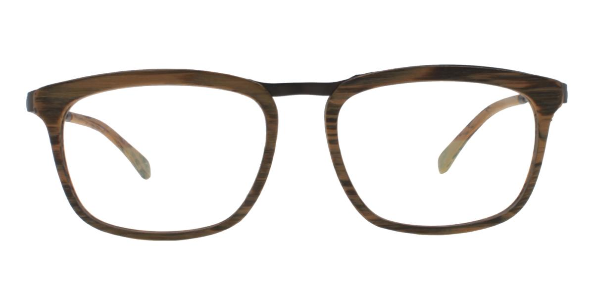 Lines-Brown-Square-Acetate / Metal-Eyeglasses-additional2