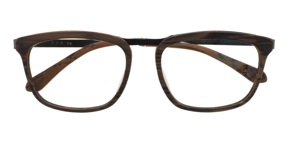 Lines-Brown-Square-Acetate / Metal-Eyeglasses-detail