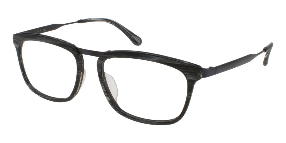 Lines-Pattern-Square-Acetate / Metal-Eyeglasses-additional1