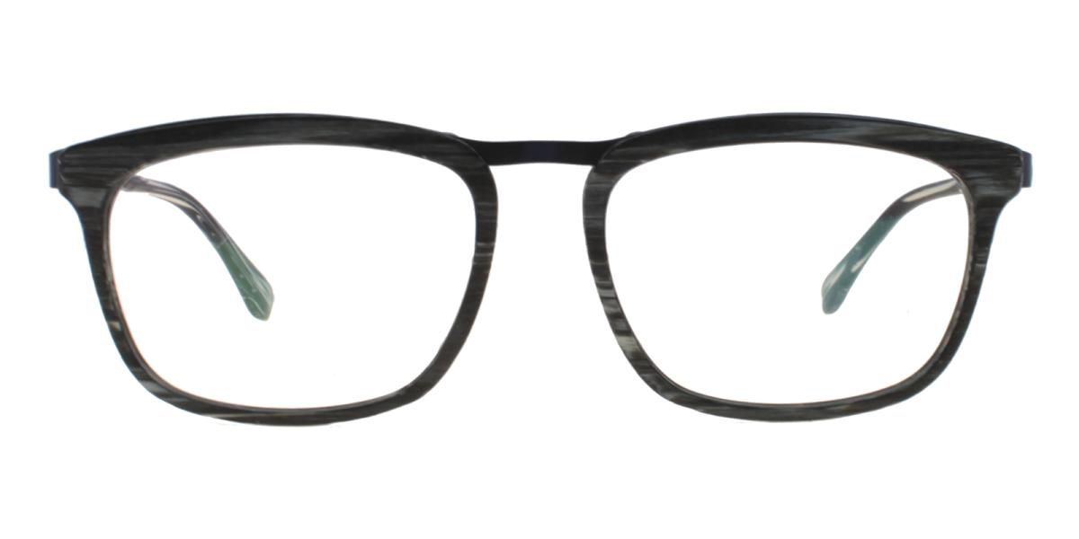 Lines-Pattern-Square-Acetate / Metal-Eyeglasses-additional2