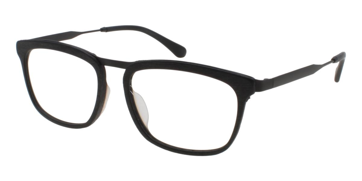 Lines-Striped-Square-Acetate / Metal-Eyeglasses-additional1