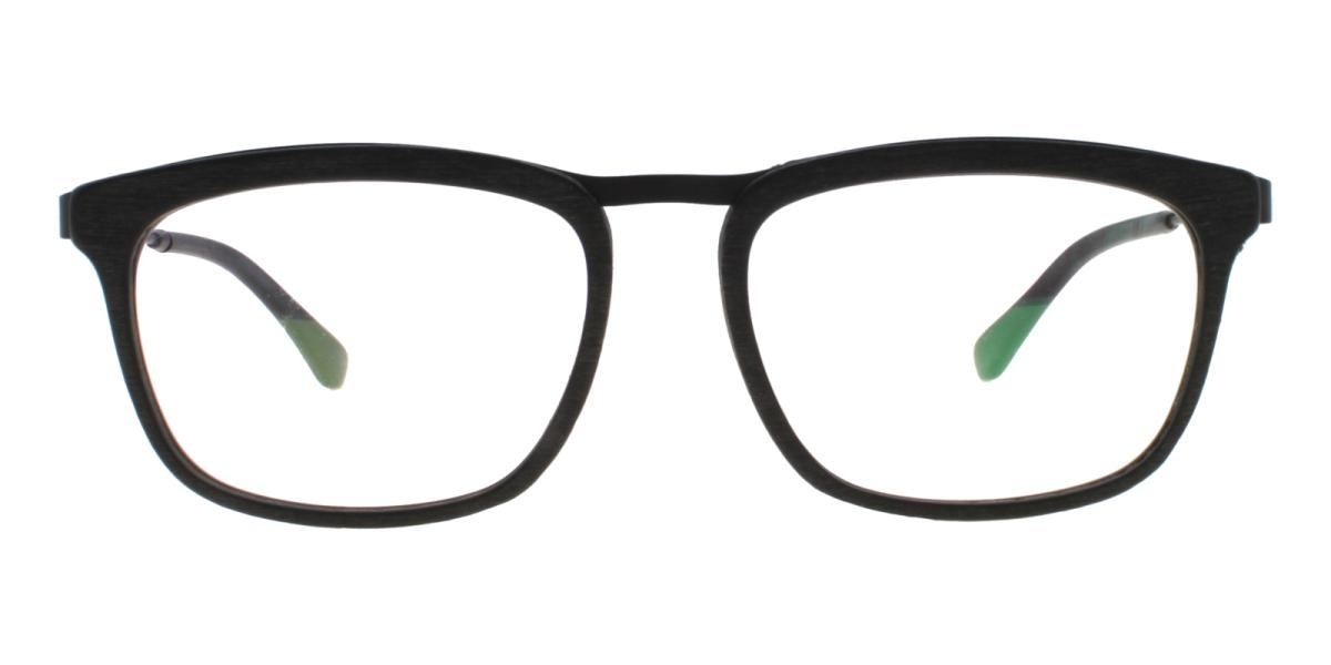 Lines-Striped-Square-Acetate / Metal-Eyeglasses-additional2
