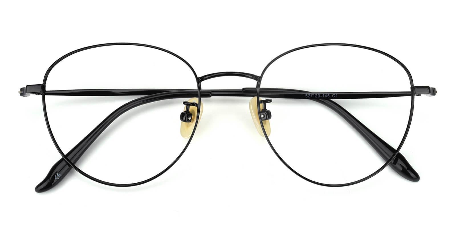 Litteray-Black-Round-Titanium-Eyeglasses-detail
