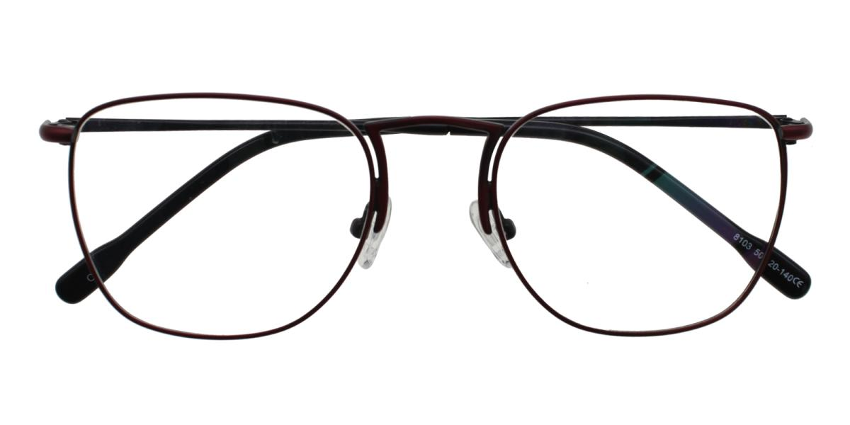 Square Eyeglasses 181225014-Red-Square-Metal-Eyeglasses-detail