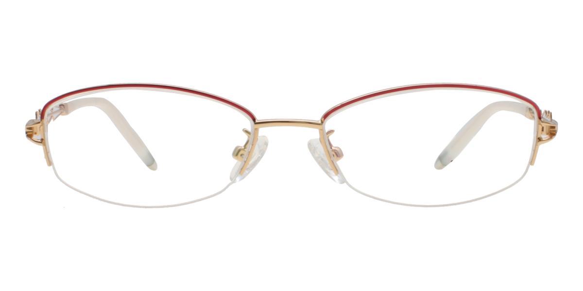 Asher-Gold-Oval-Acetate / Metal-Eyeglasses-detail