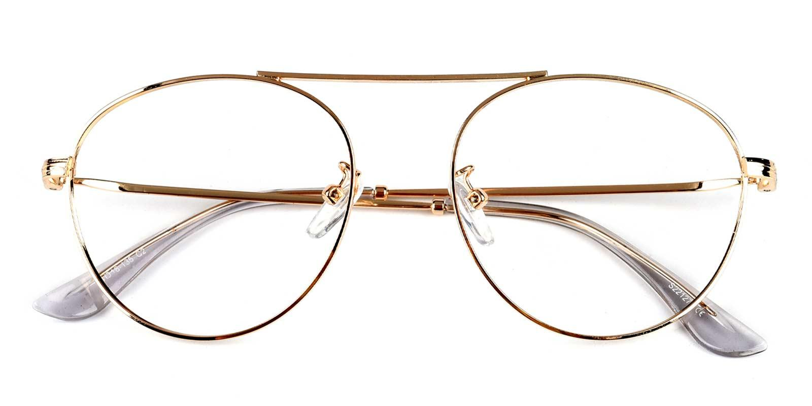 Fleybean-Gold-Aviator-Metal-Eyeglasses-detail