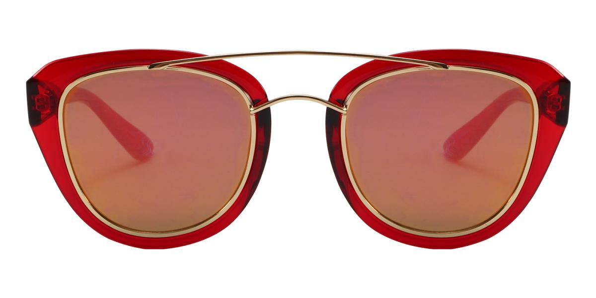 Ailianee-Red-Aviator-Acetate / Metal-Sunglasses-detail