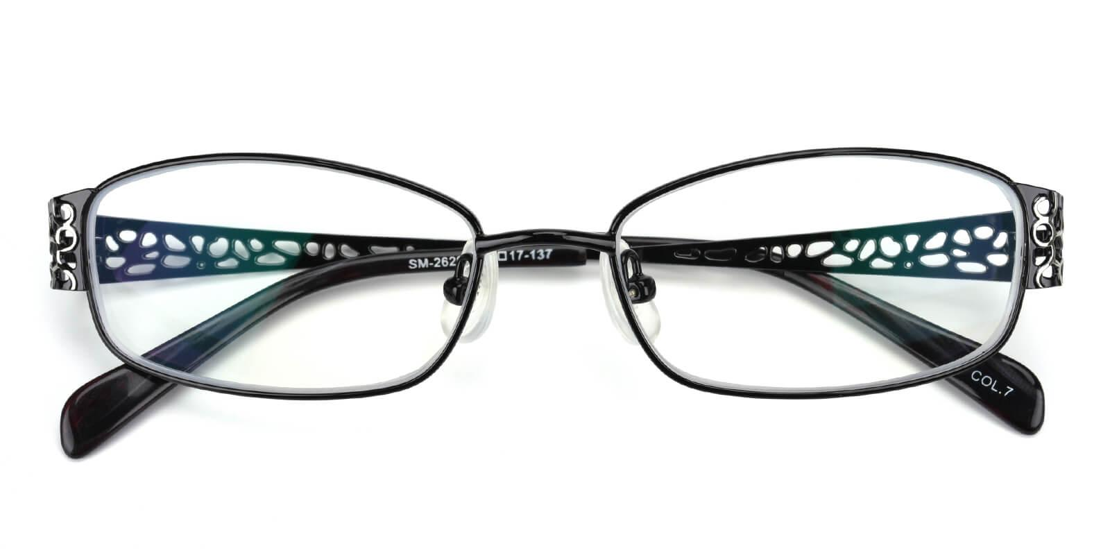 Hollowing-Black-Rectangle-Metal-Eyeglasses-detail