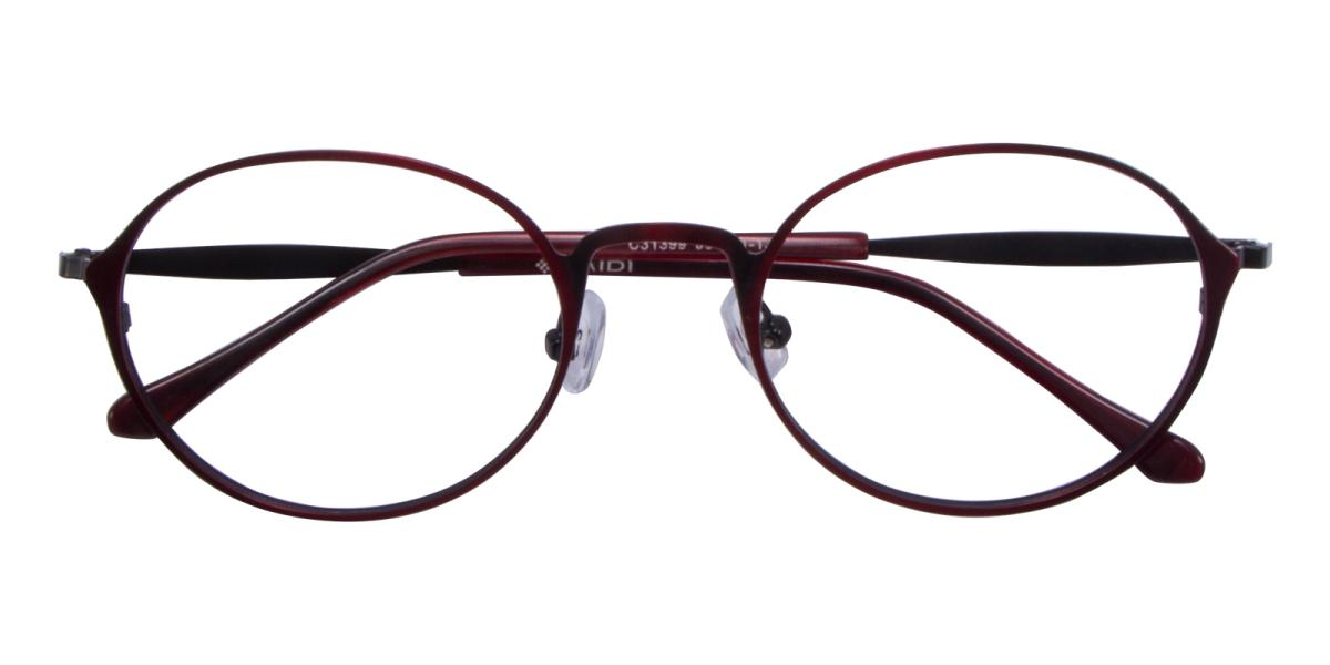 Ottoto-Red-Oval-Metal-Eyeglasses-detail