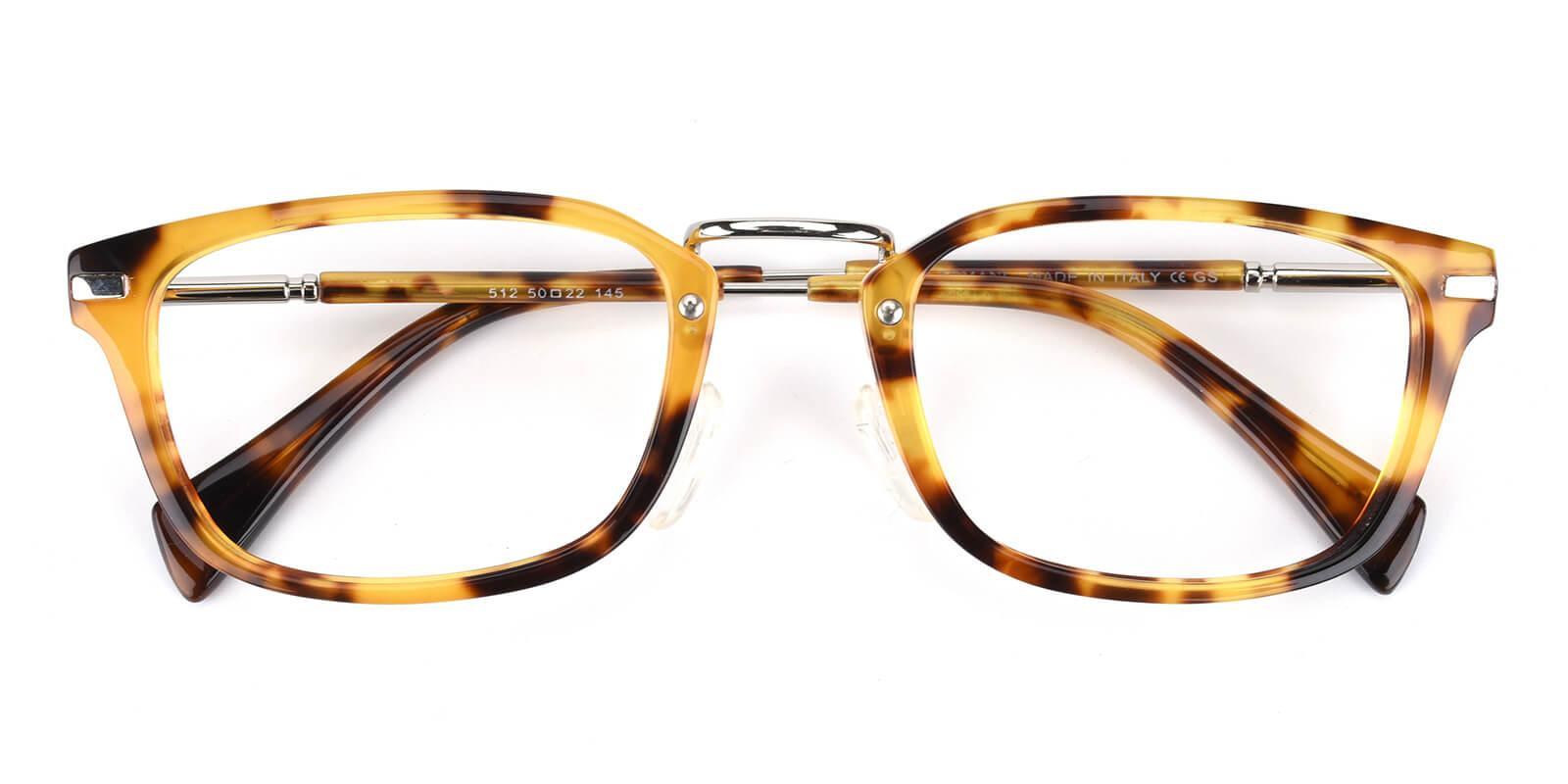 Madatte-Tortoise-Rectangle-Acetate / Metal-Eyeglasses-detail
