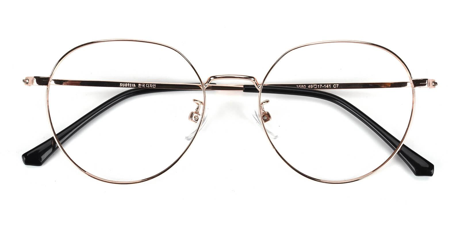 Amorous-Gold-Round-Metal-Eyeglasses-detail