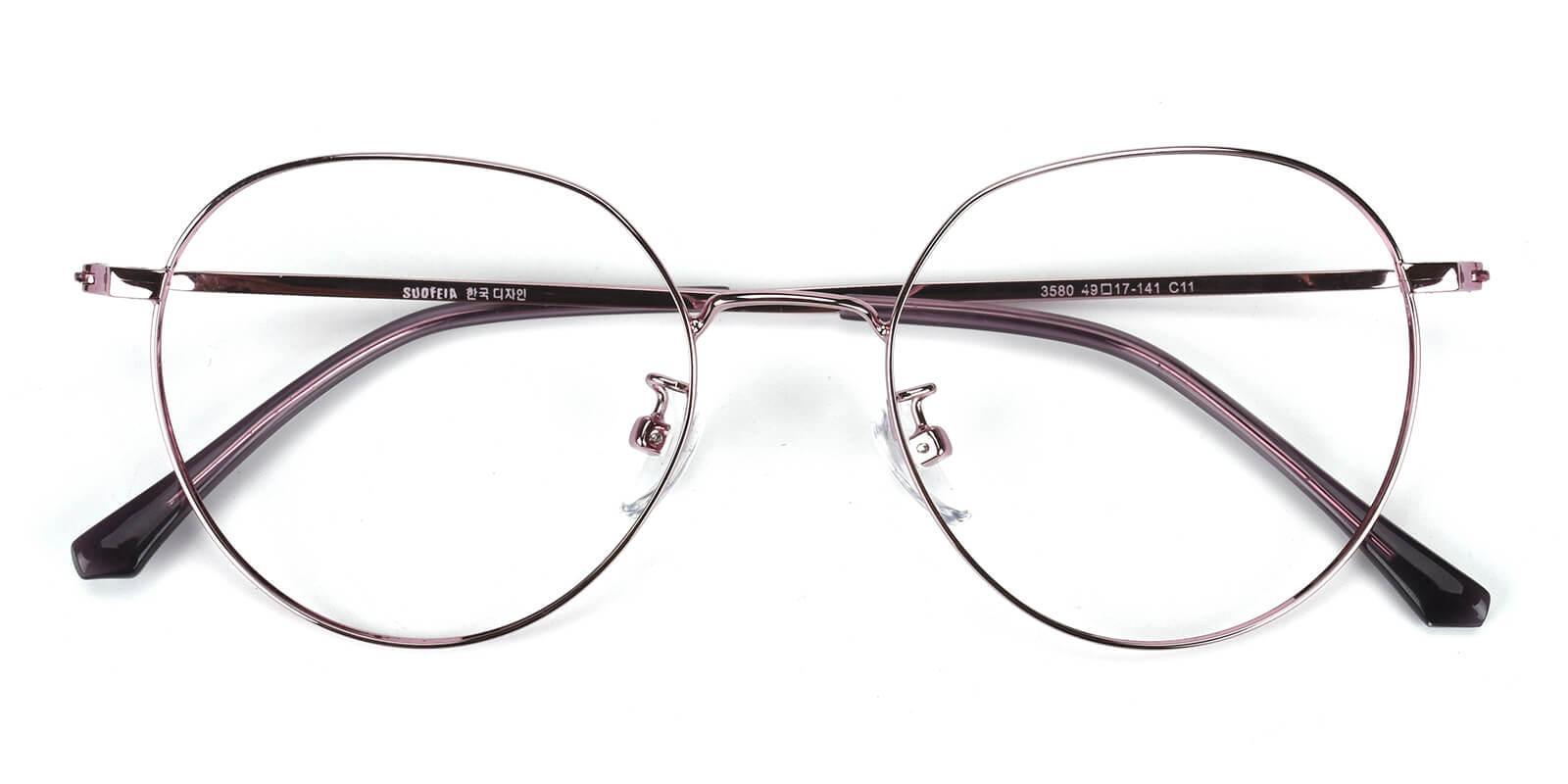 Amorous-Purple-Round-Metal-Eyeglasses-detail