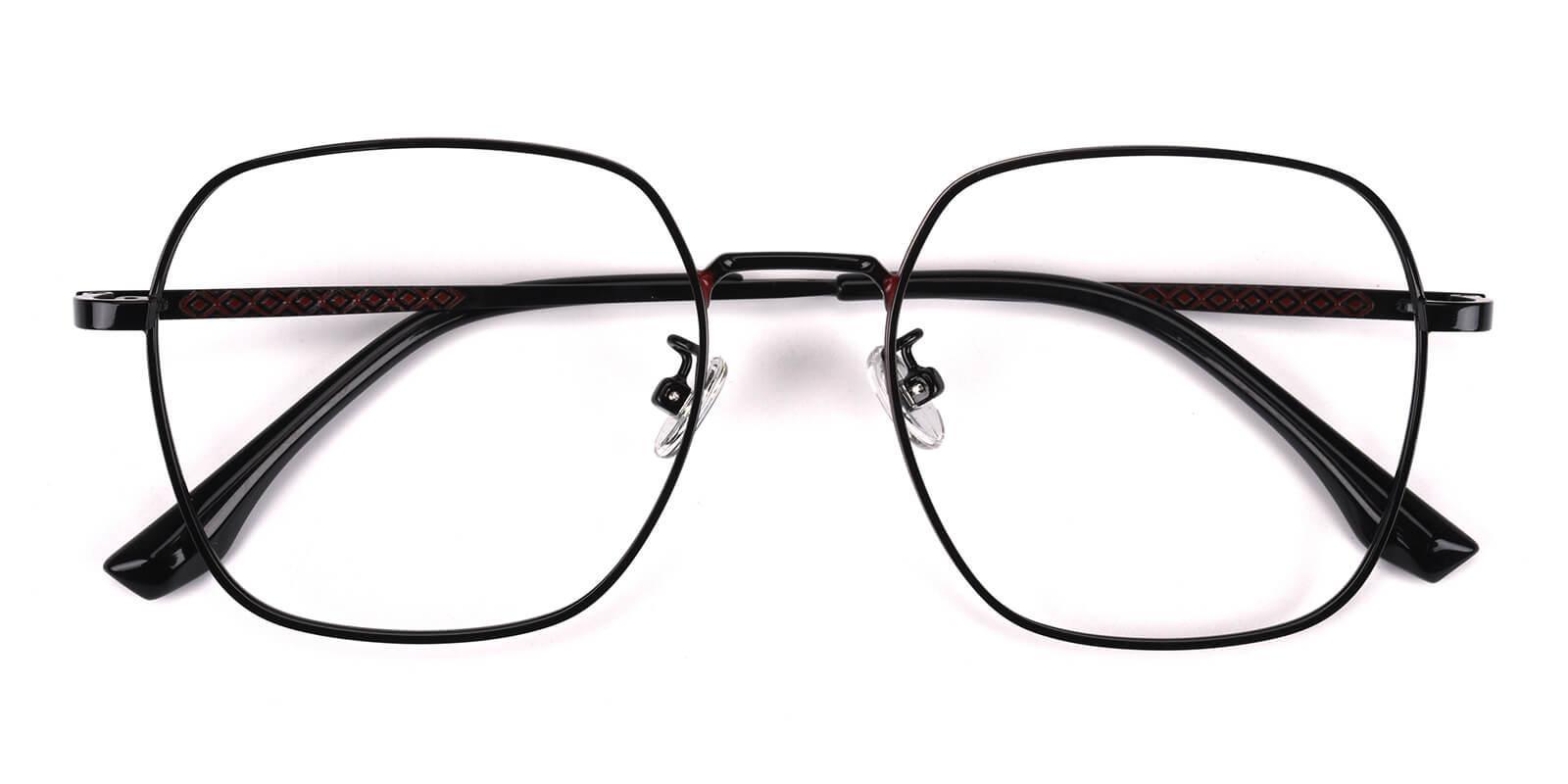 Vincoy-Black-Square-Metal-Eyeglasses-detail