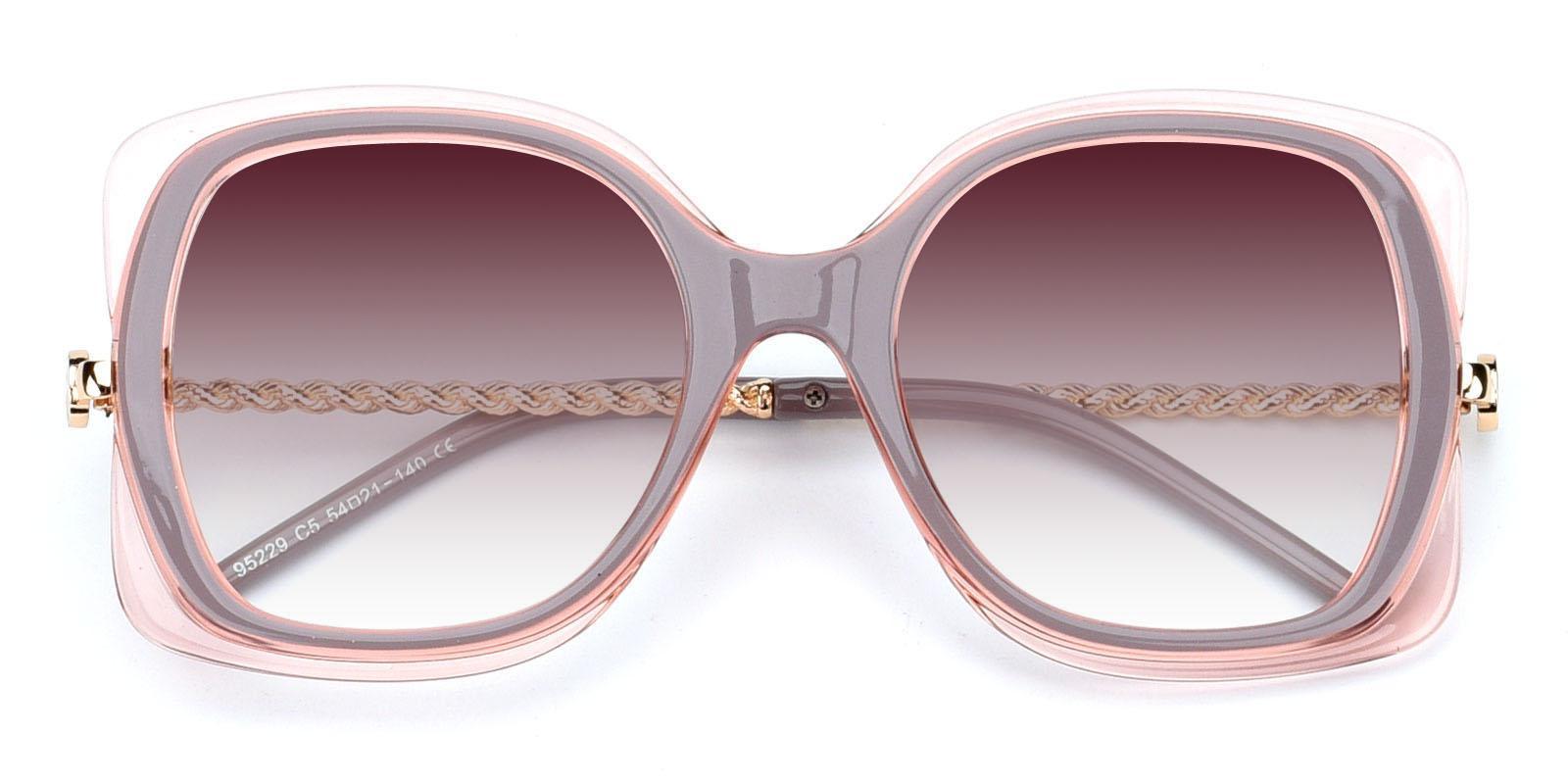 Belinda-Pink-Square-Plastic-Sunglasses-detail