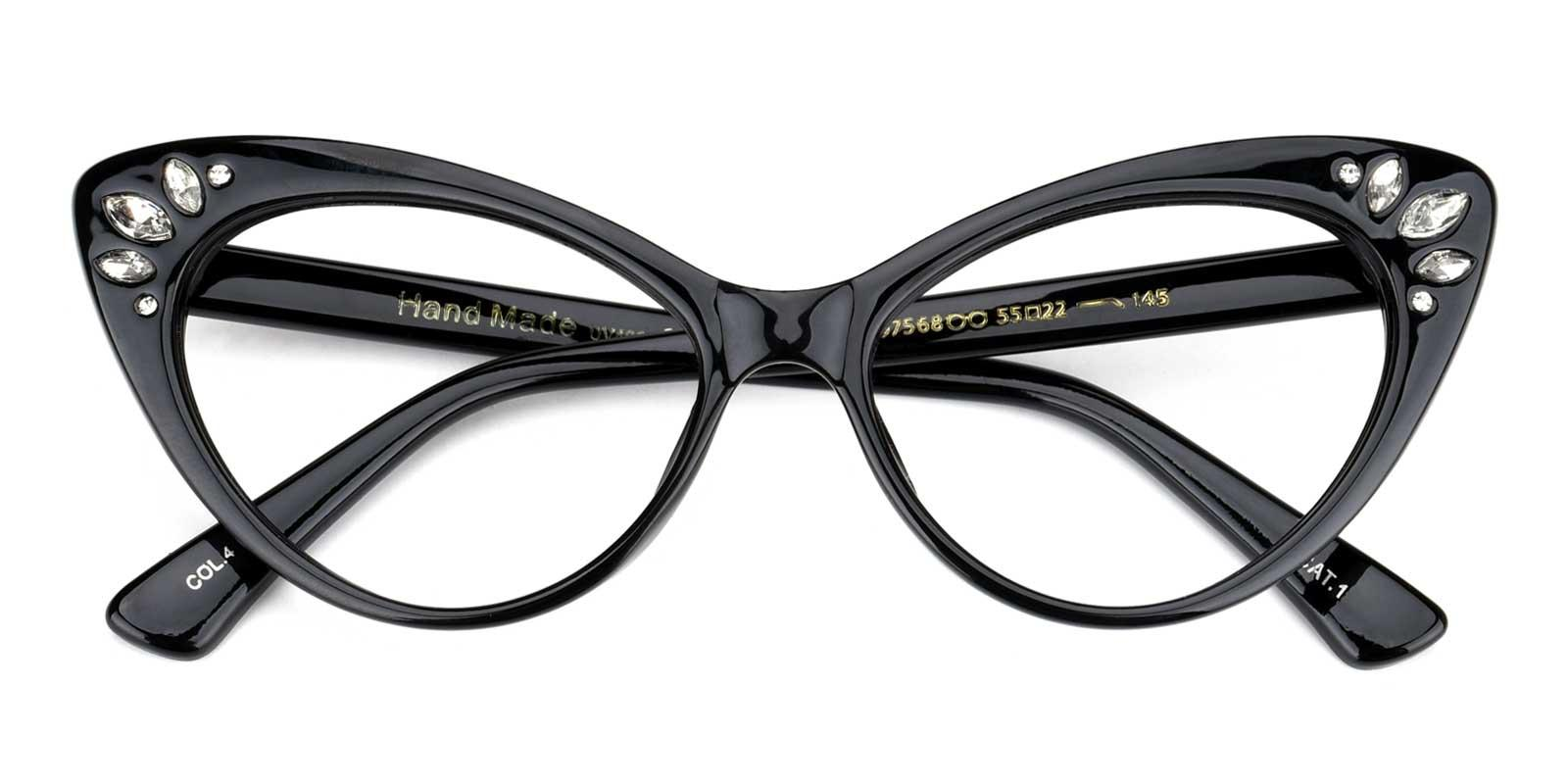 Samber-Black-Cat-Plastic-Eyeglasses-detail