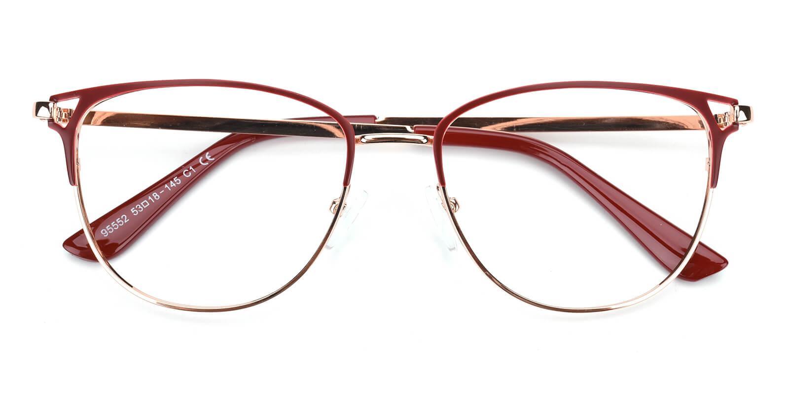 Geraldine-Red-Browline-Metal-Eyeglasses-detail