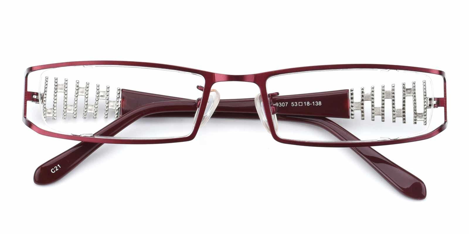 Akili-Red-Rectangle-Metal-Eyeglasses-detail