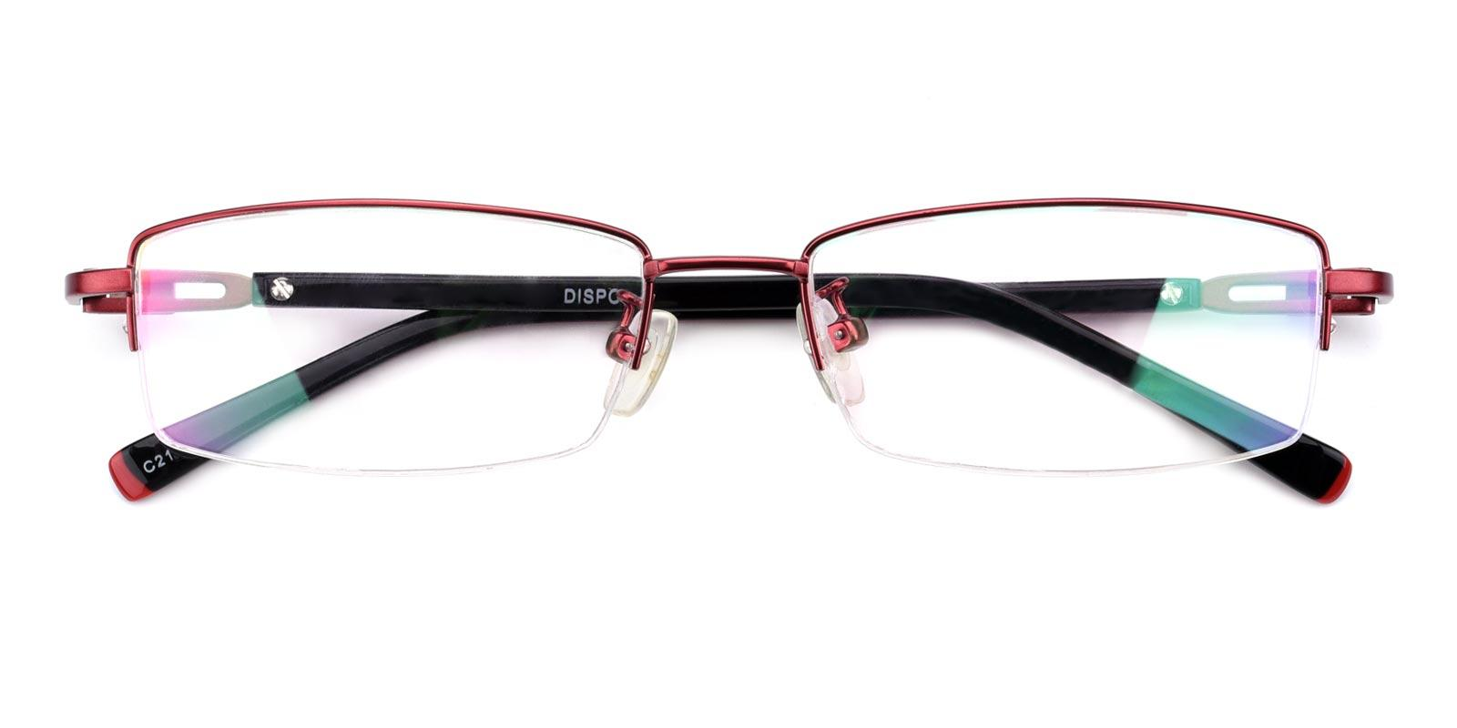 Coliny-Red-Rectangle-Metal-Eyeglasses-detail