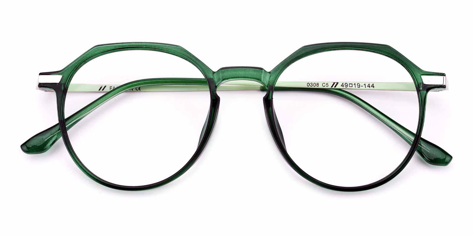Camellia-Green-Round-Combination-Eyeglasses-detail