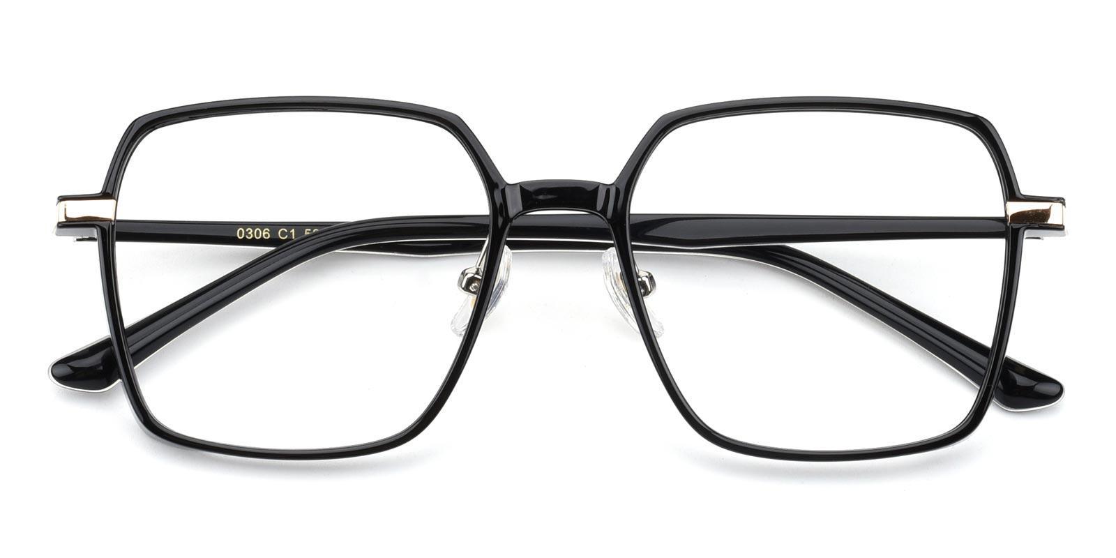 Decent-Black-Geometric-Acetate-Eyeglasses-detail