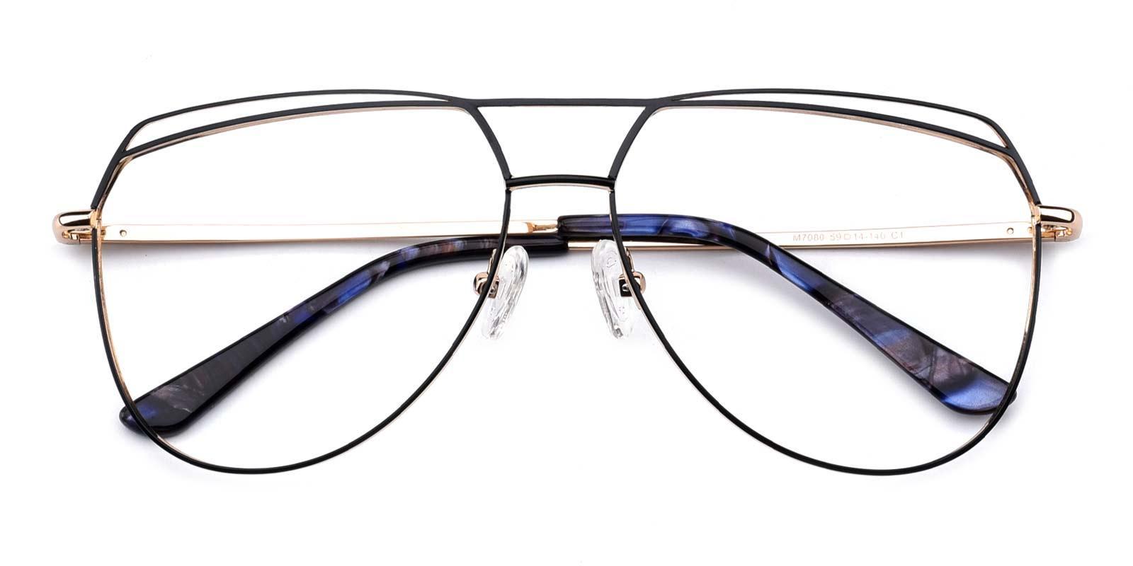 Nicole-Black-Aviator-Metal-Eyeglasses-detail