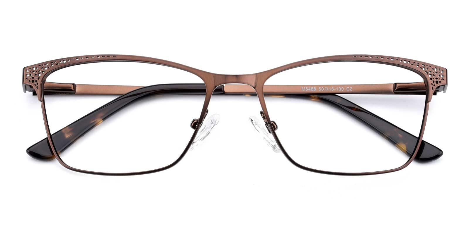 Moon-Brown-Rectangle-Metal-Eyeglasses-detail