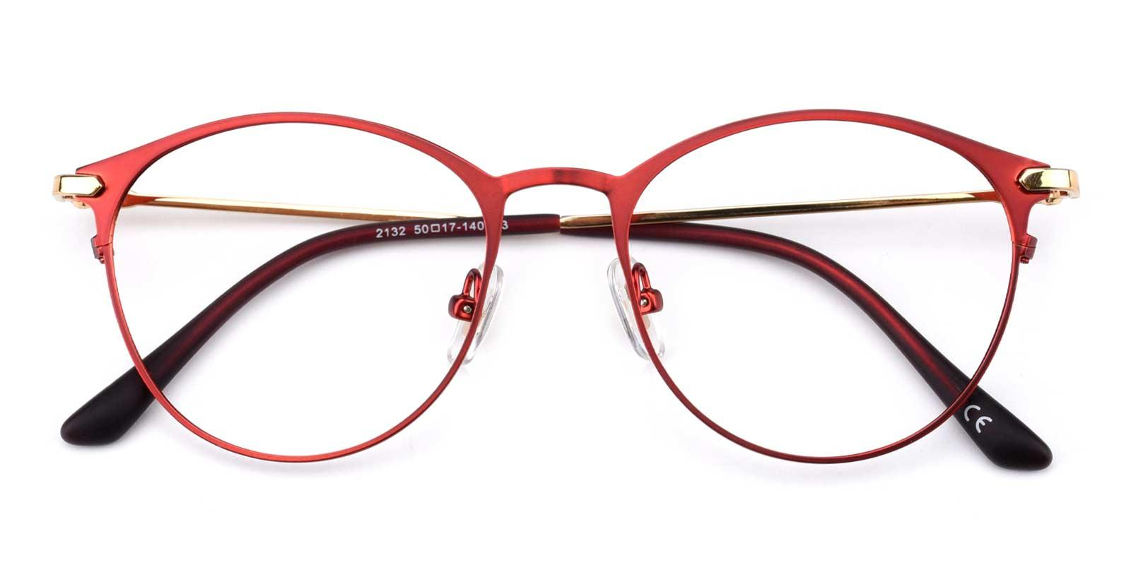 Gosse-Red-Oval-Metal-Eyeglasses-detail