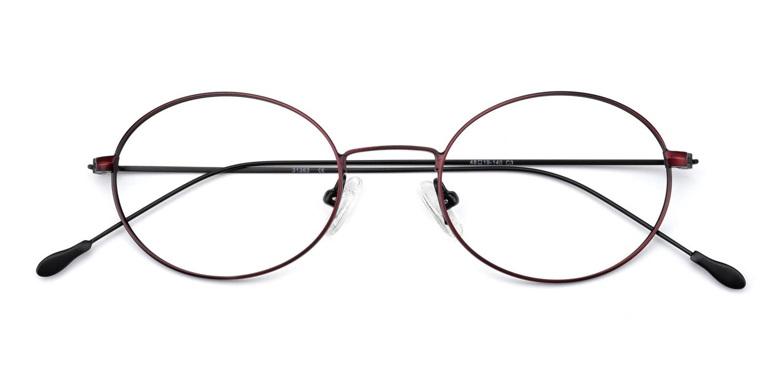 Bertha-Red-Oval-Metal-Eyeglasses-detail