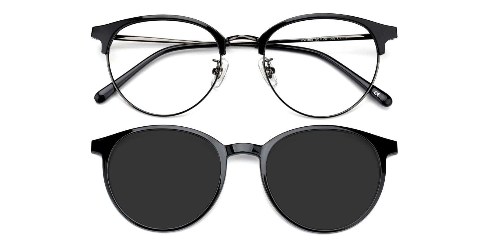 Gaze-Black-Browline-Metal-Eyeglasses-detail