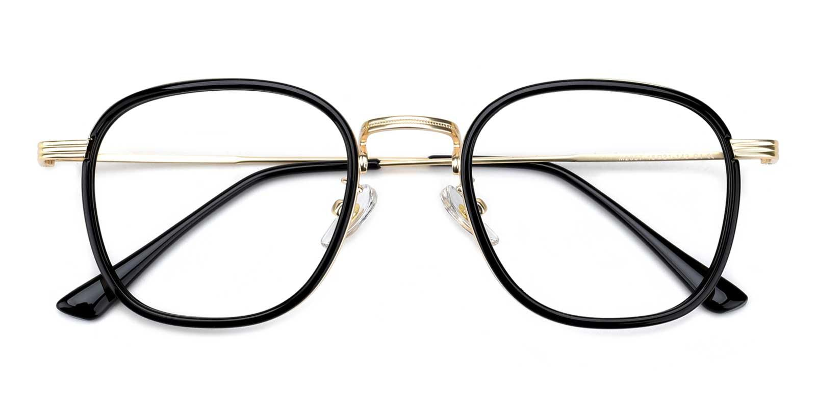 Genmai-Black-Square-Metal-Eyeglasses-detail
