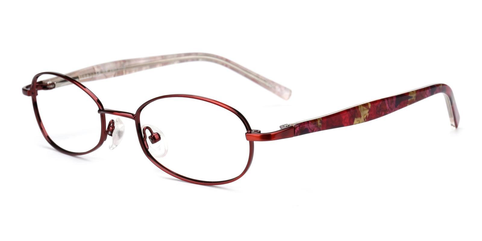 Rosebud-Red-Oval-Metal-Eyeglasses-detail